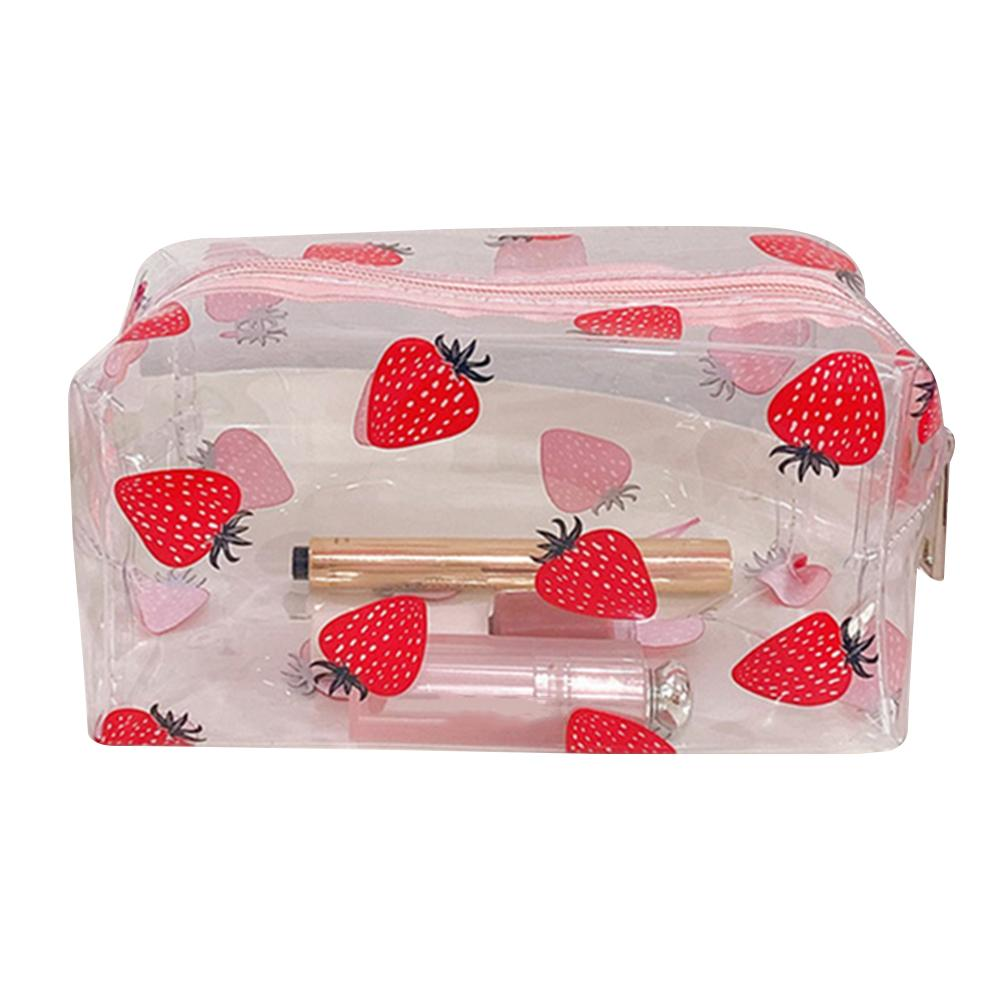 Cosmetic Bag Transparent PVC Fruit Print Cosmetic Wash Bag Women PVC Clear Travel Toiletry Storage Case Bath Wash Pouch Tote