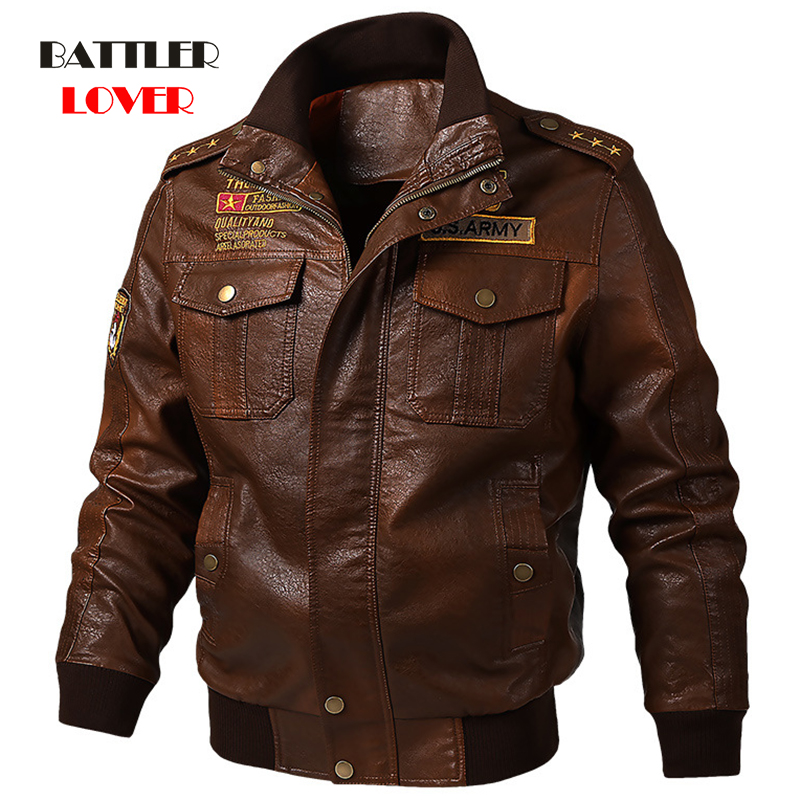 M-6XL Men's Genuine Cow Leather Jackets And Coats Male Motorcycle Windbreak Jacket Casual Slim Brand Clothing Stand Collar Coats