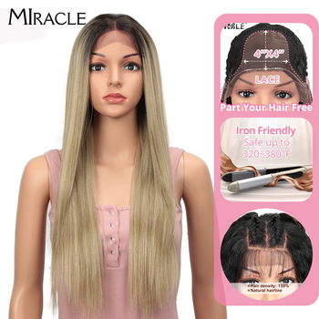 Miracle Synthetic Lace Front Wig Straight Lace Front Wig 4X4 synthetic wig 28Ombre Blonde Wigs For Black Women Lace Front Wig should length dark root ash blonde lace front wig synthetic