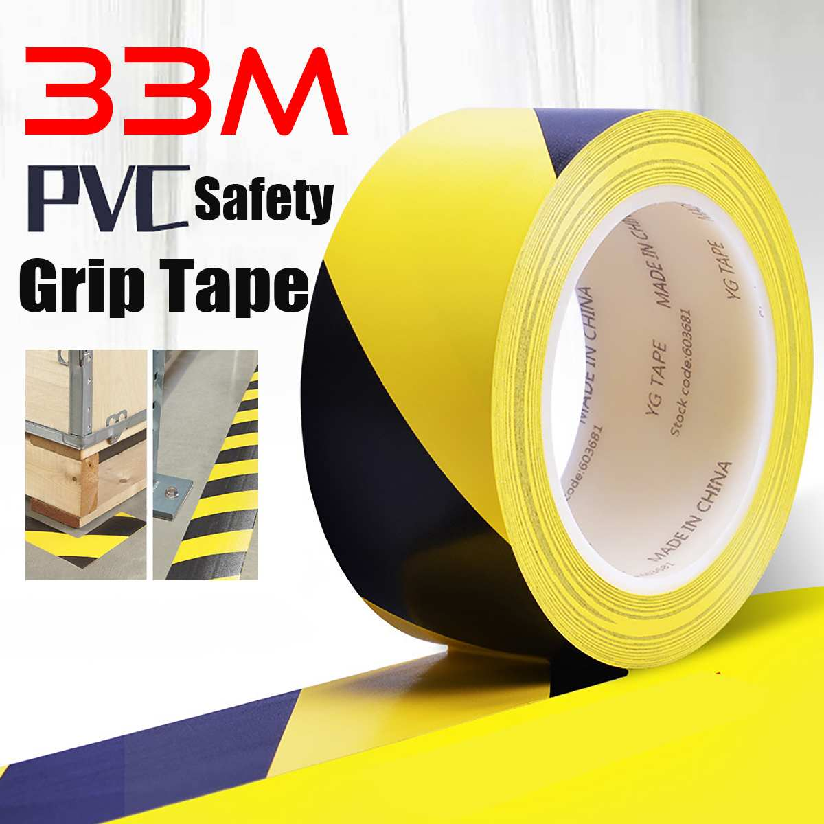 33m*2cm Length Warning Tape Waterproof Safety Traction Tape Caution Tape Warning Restricted Area And Floor Stairs Anti-Slipping