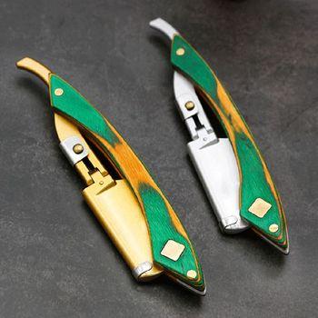 Men Easy Opening Straight Hair Razor Retro Wooden Handle Barber Hair Shaver Kit Safety Razor 5