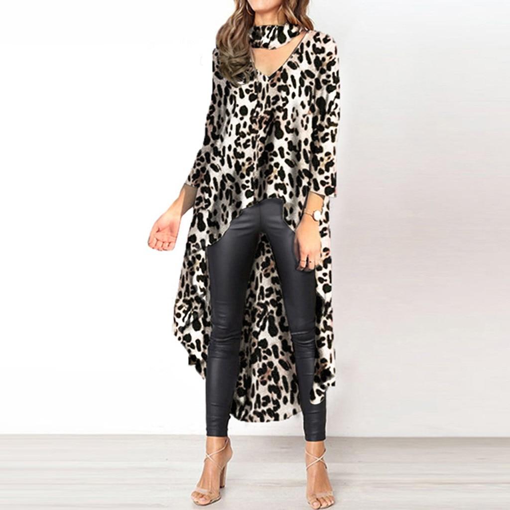 Fashion Asymmetrical Leopard Print A-line Belted Dress Women 2020 Summer Casual Long Sleeve Boho Midi Dresses Plus Size#J30