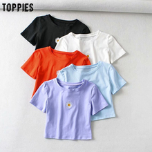 toppies summer cropped tops emboridered daisy t-shirts girls
