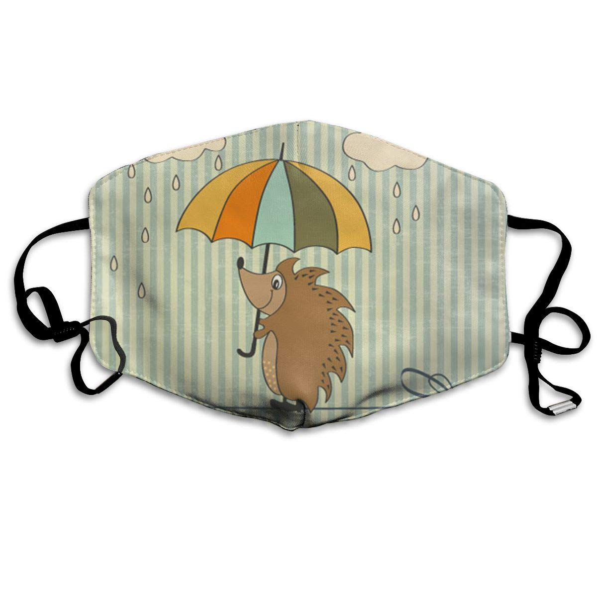 Mouth Mask Hedgehog With Umbrella Print Masks - Breathable Adjustable Windproof Mouth-Muffle, Camping Running For Women And Men