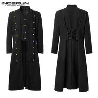 INCERUN Men Gothic Coats Steampunk Solid Long Sleeve Buttons Vintage Tailcoat Lace Up Trench Men Long Outerwear Medieval Costume