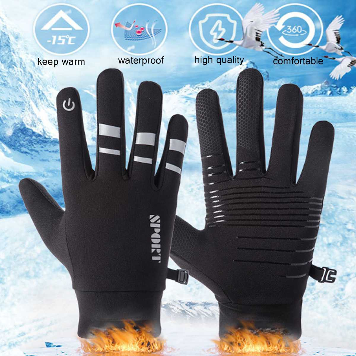Winter Thermal Ski Gloves Men Women Fleece Touch Screen Snowboard Gloves Outdoor Waterproof Snow Motorcycle Skiing Gloves