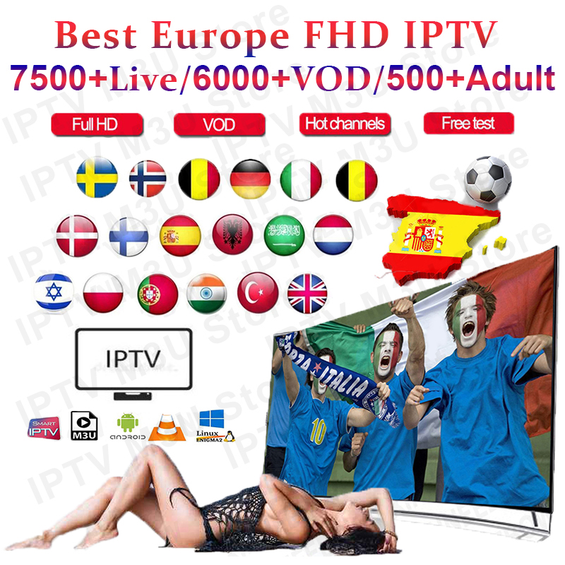 1 Year Europe US UK Brazil Poland Spain  IPTV Subscription 7500+Live 6000 Vod FHD IPTV M3u Enigma Vod Sports Adult Xxx Free Test
