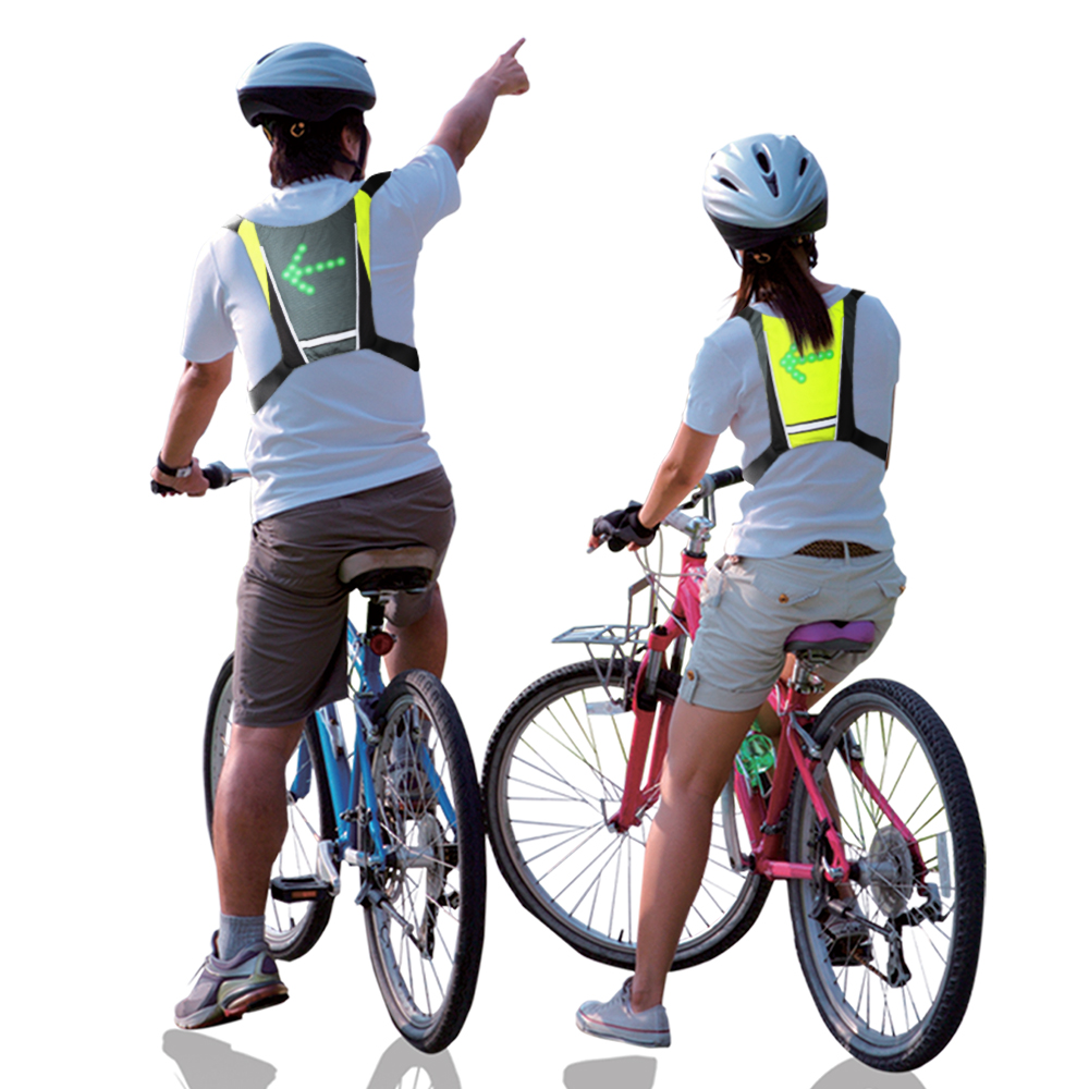 LED Wireless Cycling Vest 20L MTB Bike Bag Safety LED Turn Signal Night Bike Led