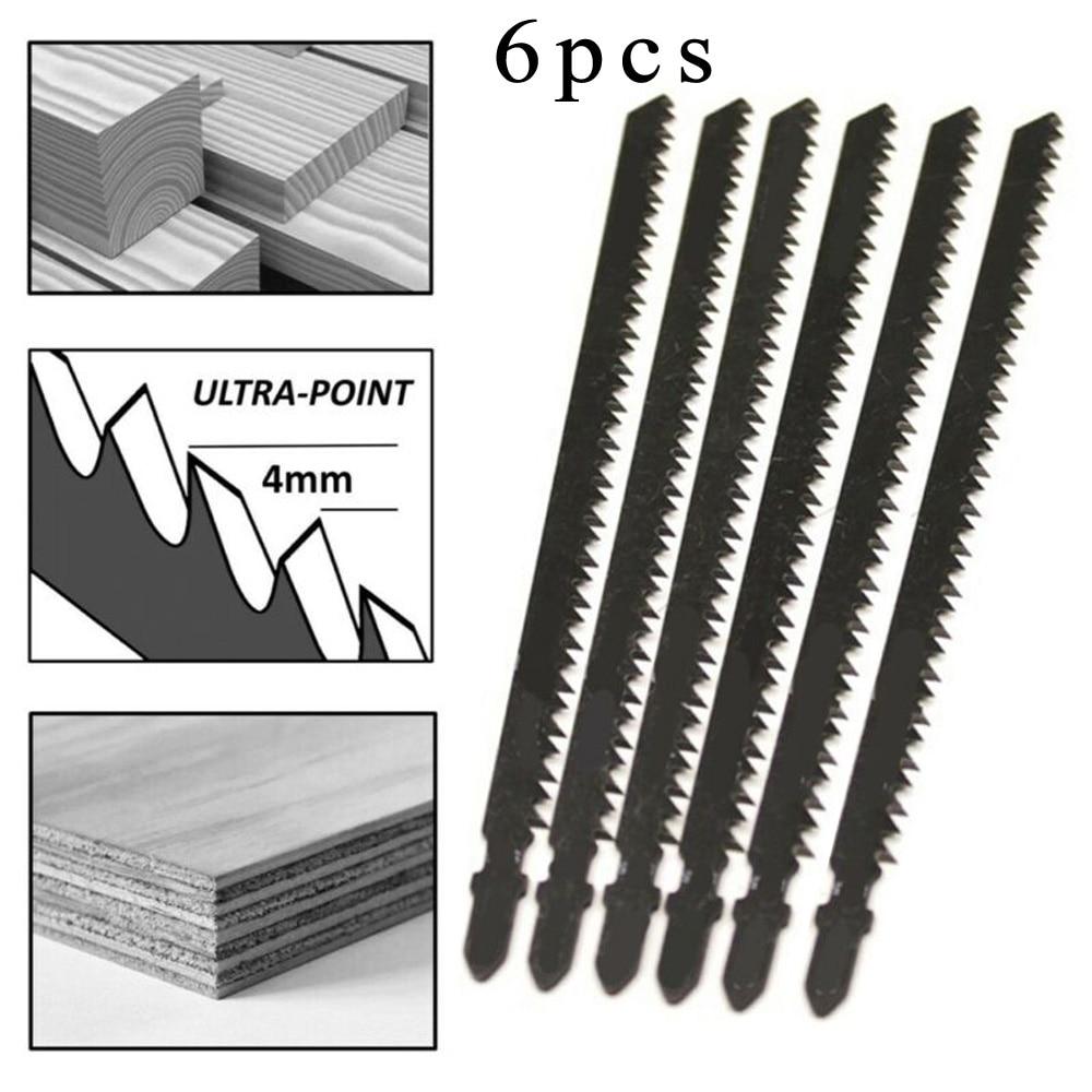 6Pcs T744D 180mm Steel Ultra-long Jigsaw Saw Blades Fast Cutting Set For Wood Plastic Cutting Tools Power Tool Accessories