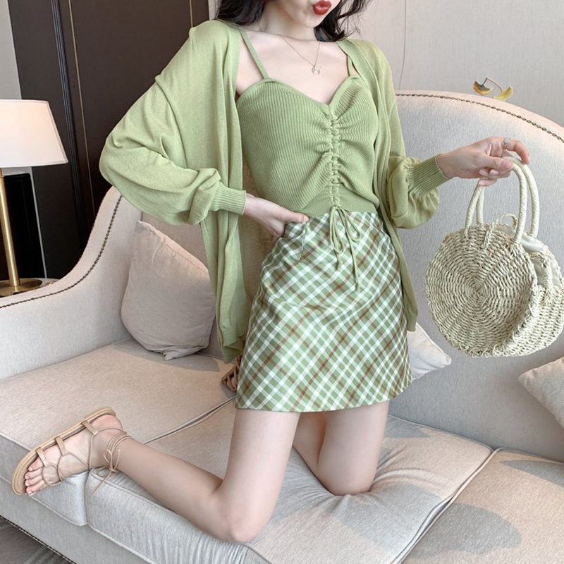 Online Celebrity Avocado WOMEN'S Suit French Non-mainstream Sweet Matcha Green Strapped Dress Three-piece Set Elegant Small Fres