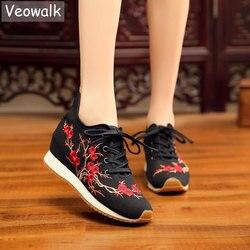 Veowalk Blühende Pflaume Stickte Frauen Leinwand Turnschuhe Komfortable Versteckte Plattform Chinesische Stickerei Lace Up Schuhe