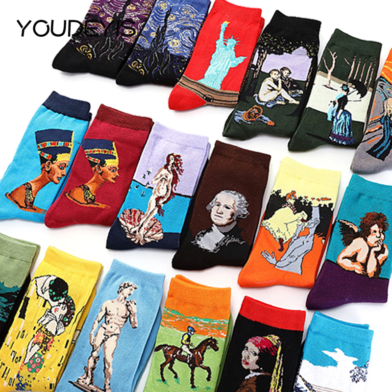YOUDEYISI Abstract Oil Painting Art Cotton Sock Women Mona Lisa Retro Literature And Art Men And Women Christmas Funny Socks