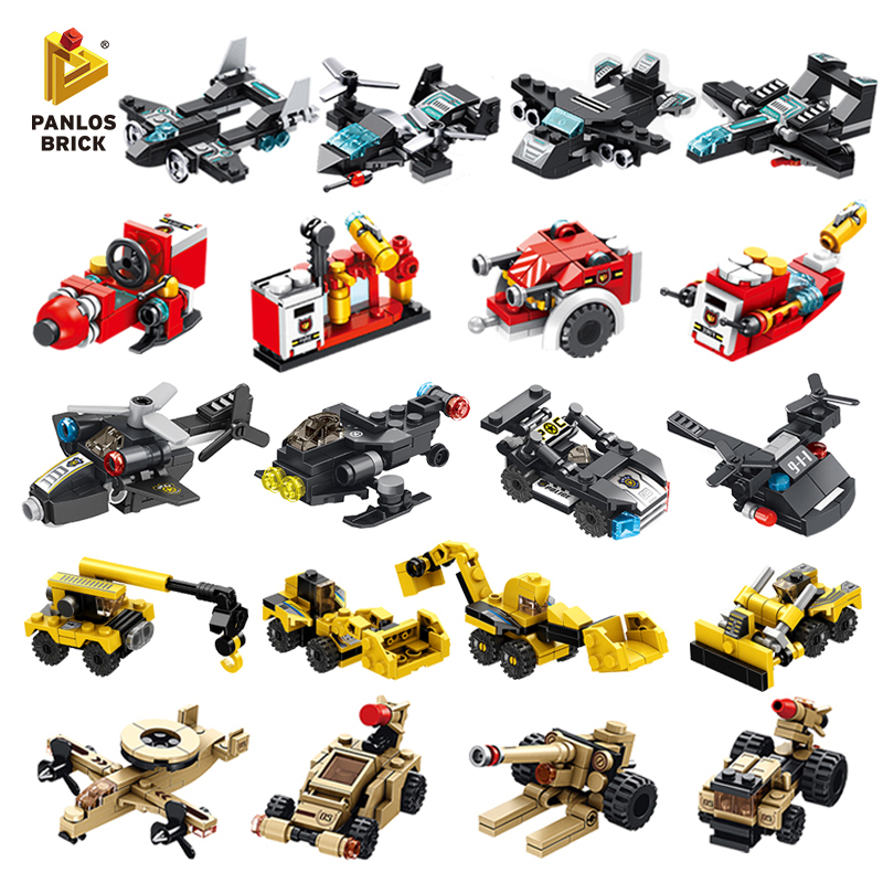 Building Blocks Fire Truck Police Robot Stacking Toys Car Aircraft City Engineering Mini Plane Plastic Gift For Kid Boy Children