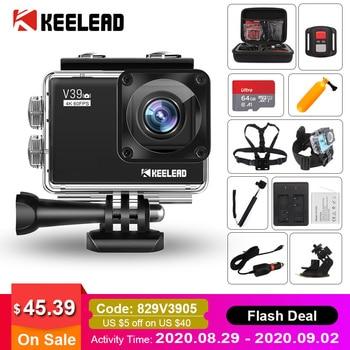 "KEELEAD V39 acción Cámara 4K / 60FPS 20MP 2,0 ""LCD EIS Dual MIC WiFi webcam impermeable Pro cámara de casco Cámara del deporte Cámara de"