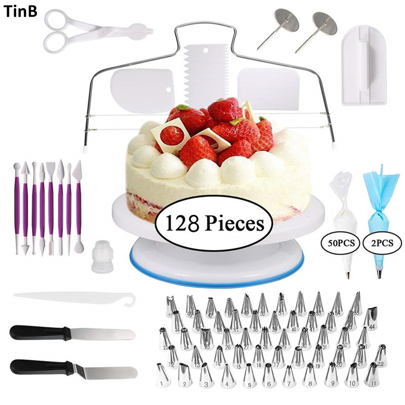 <font><b>Cake</b></font> Decorating Tools Kit Icing Piping Nozzles <font><b>Pastry</b></font> Bag Confectionery Tips Turntable <font><b>Cake</b></font> <font><b>Scraper</b></font> <font><b>Pastry</b></font> <font><b>Cake</b></font> Tools Spuitzak image