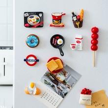 น่ารัก 3Dแม่เหล็กตู้เย็นเรซินการ์ตูนขนมปังไข่ตู้เย็นสติกเกอร์ข้อความเด็กของเล่นเด็กบ้านตกแต่งคริสต์มาส 1PC