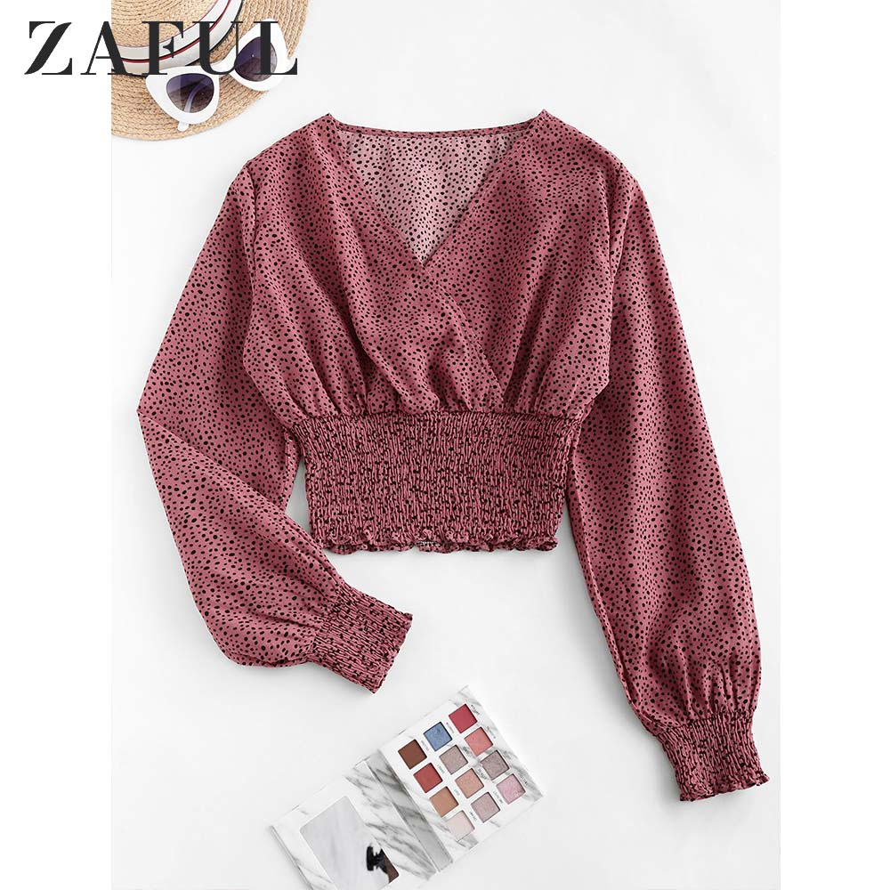 ZAFUL Women'S Blouse Dalmatian Dot Smocked Crop Blouse Long Sleeve Ladies Printed Short Tops V-Neck Daily Casual Cropped Blouse