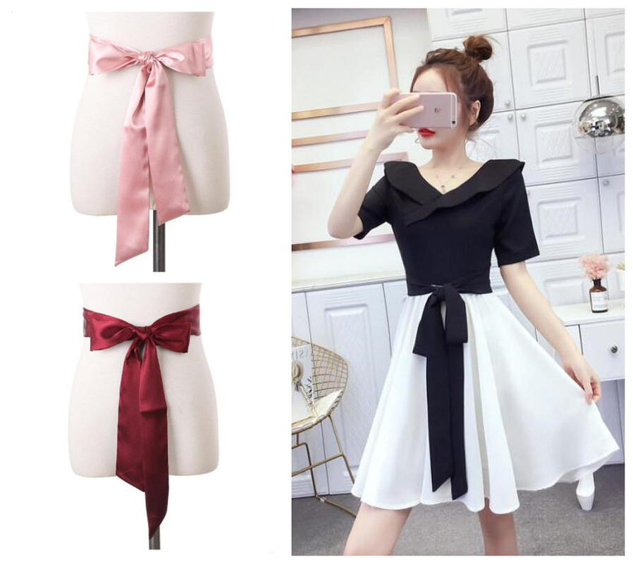 Women's Soft Clothing Accessories Belt Silk Scarves Women Ribbon Solid Color Dress Chiffon Long Scarf Ladies Bow Belts 180cm