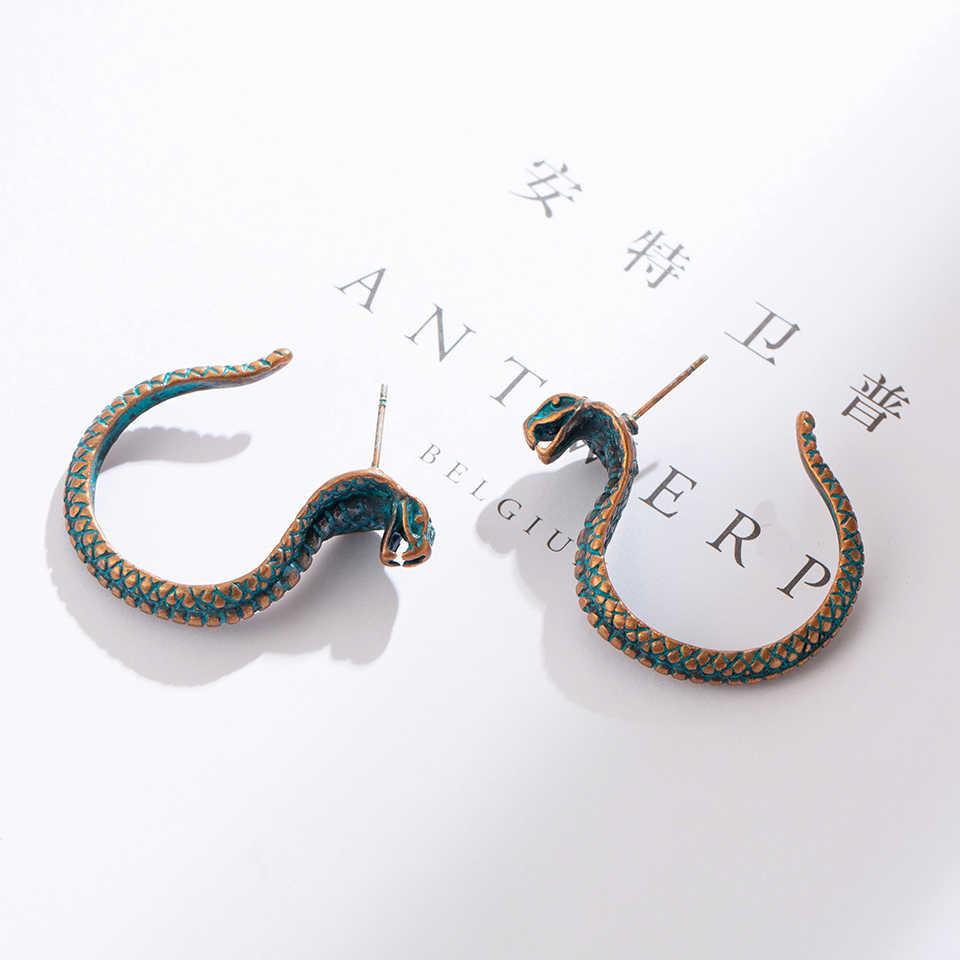 Chic Antique Green Snake Drop Bông tai 2018 Mới nhất Đảng Cá tính Cobra dang Hoa tai cho phụ nữ Punk Trang sức thời trang Quà tặng