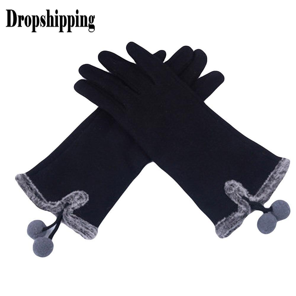 Hairy Ball littens Fluffy ฤดูหนาว WARM Full Finger มือถุงมือฤดูหนาวแฟชั่นผู้หญิงสกีลมป้องกันมือถุงมือ deri eldiven # ZA
