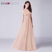 Платье подружек невесты Ever Pretty, длинное Плиссированное ТРАПЕЦИЕВИДНОЕ платье из тюля, с V образным вырезом, для свадебной вечеринки, EP07526OD, весна лето 2020