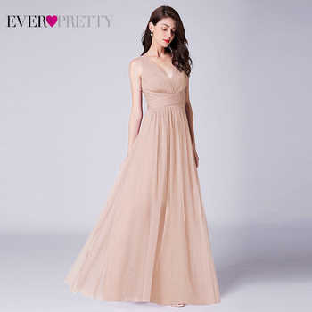 New Bridesmaids Dresses 2019 Ever Pretty EP07526OD Elegant A Line V Neck Long Tulle Pleated Wedding Party Gowns Robe Mousseline - DISCOUNT ITEM  30% OFF All Category