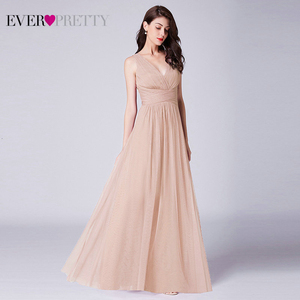 Image 1 - New Bridesmaids Dresses 2020 Ever Pretty EP07526OD Elegant A Line V Neck Long Tulle Pleated Wedding Party Gowns Robe Mousseline