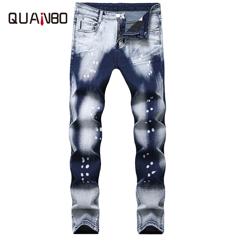 QUANBO Men Biker Jeans New Autumn Winter Fashion Wash  Two-tone White Dot Jeans Straight Slim Fit Men's Denim Trousers 38 40