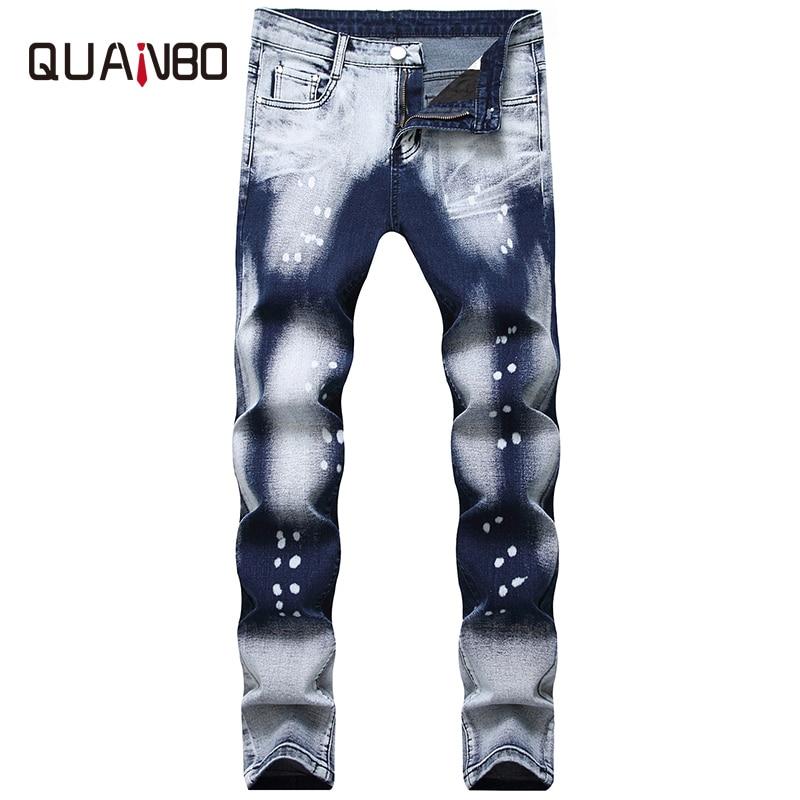 QUANBO Men Biker Jeans New Autumn Winter Fashion Wash Two-tone White Dot Jeans Straight Slim Fit Men's Denim Trousers 38 40