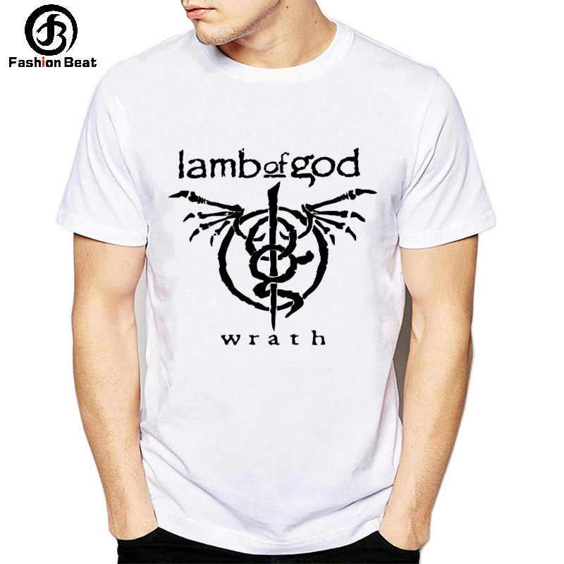 """2019 חדש סתיו גברים נשים חולצה ארה""""ב Eur פופ רוק מוסיקה Tshirt כבש של אלוהים להקת T חולצה גולגולת דפוס הדפסת חולצות לבן בגדים"""