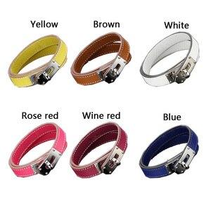 Image 5 - Quente marca de aço inoxidável dupla camada pulseira azul amarelo vermelho verde cor real couro do couro pulseiras para as mulheres (dj1312)