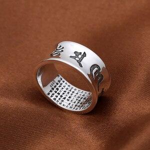 Image 5 - Anillo Om Mani Padme Hum 100% joyería de plata de ley 925 auténtica para mujeres y hombres joyería hecha a mano estilo tailandés de plata Vintage