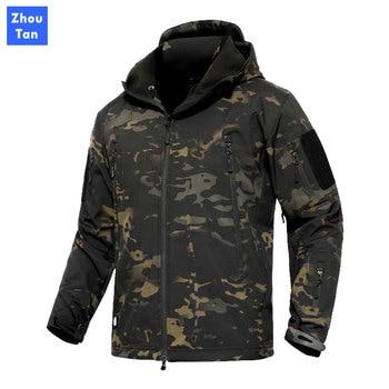 Tactical Jacket Men Military Camouflage Shark Skin Soft Shell Waterproof Hooded Jackets Outdoor Camo Fleece Warm Raincoat Coats men camo print hooded jacket