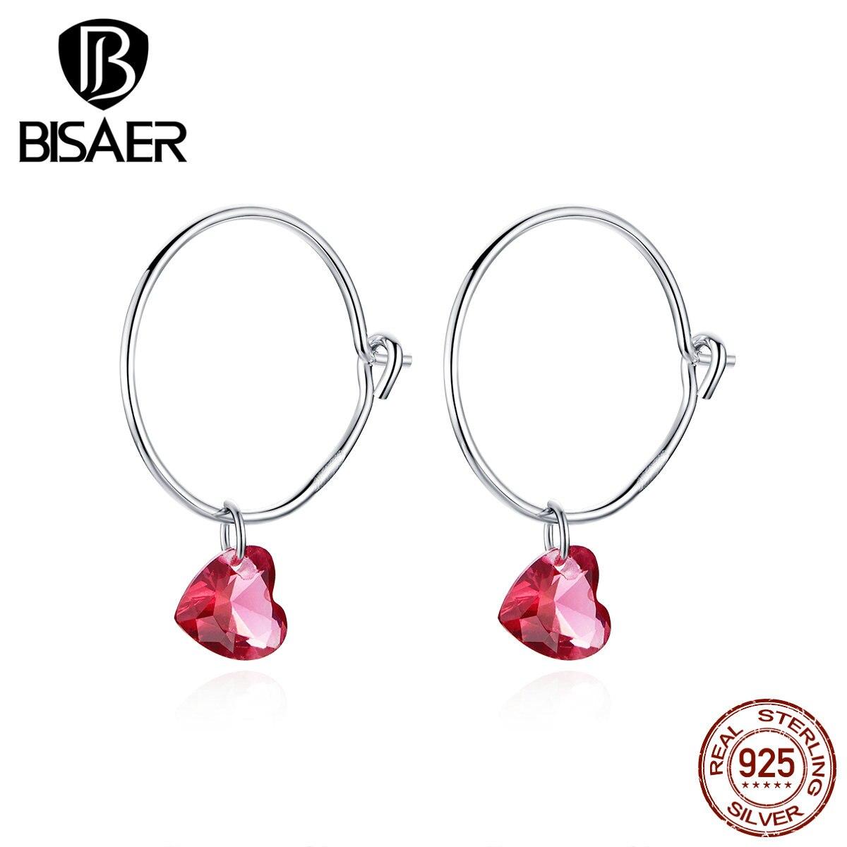 Big Round Earrings BISAER 925 Sterling Silver Hyperbole Pink Cubic Zircon Love Heart Stud Earrings For Women Jewelry EFE317