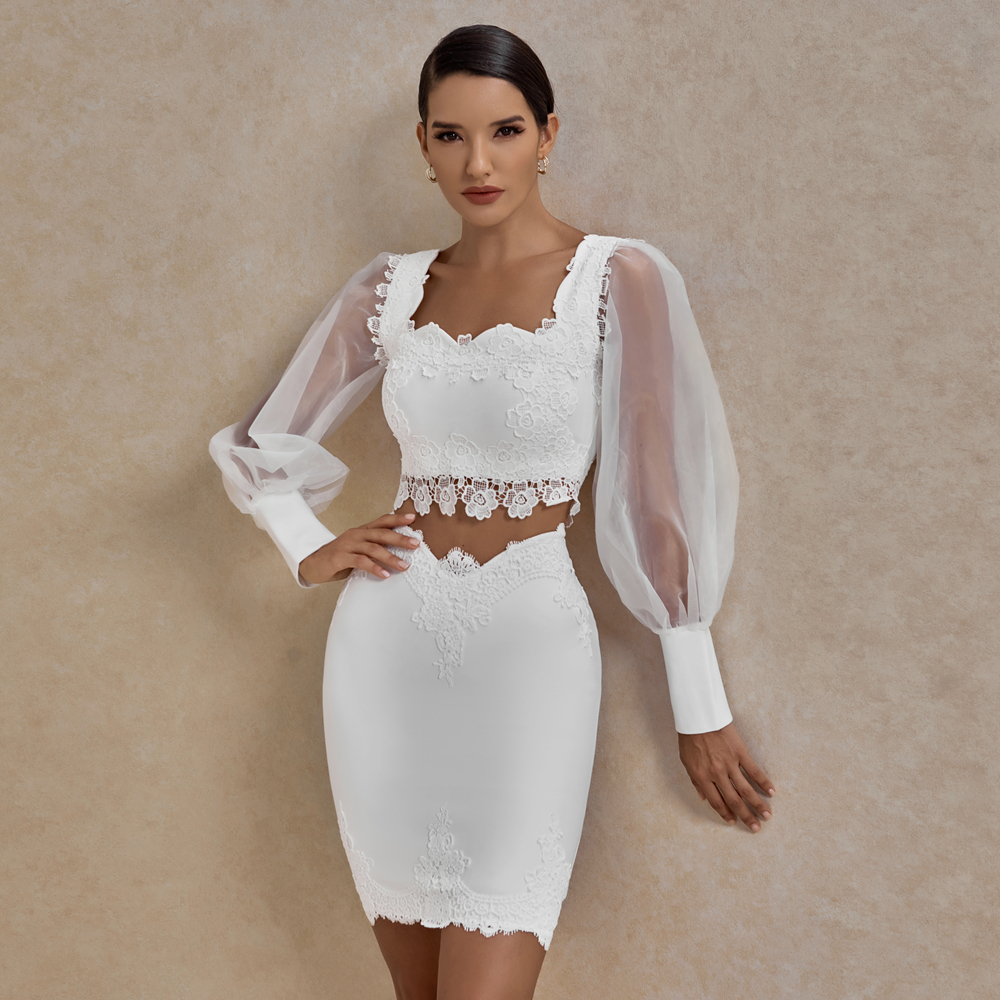 Ocstrade Sommer Mesh Langarm Verband Kleid 2020 Frauen Sexy Spitze 2 Stück Verband Kleid Bodycon Partei Zwei Stück Set outfits