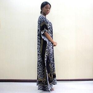 Image 3 - 2019 mode Dashiki Afrikanische Kleider Für Frauen Leopard Print Baumwolle Dashiki Casual Kleider