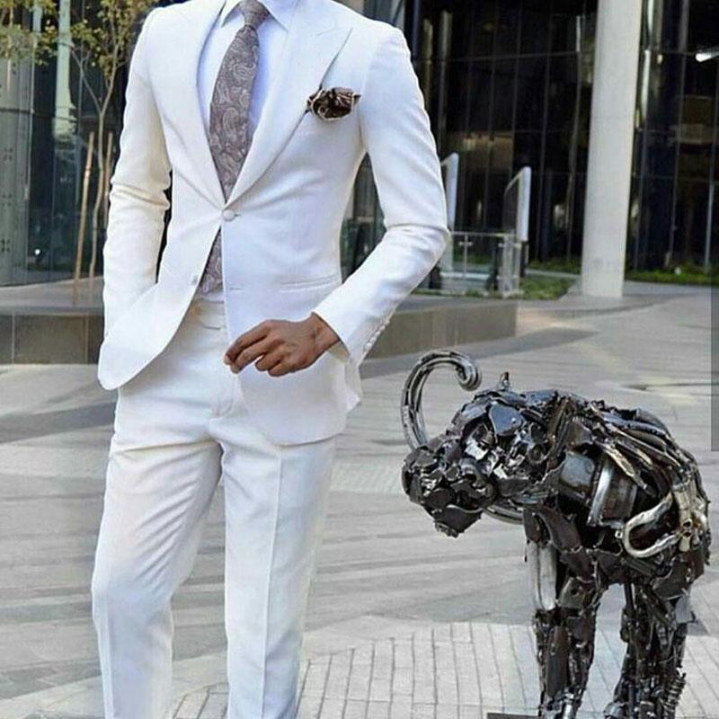 Ivory Suits Men 2019 Peak Design Groom Wedding Tuxedo Business Man Wear Man Blazer Costume Homme Slim Terno Masculino 2Piece