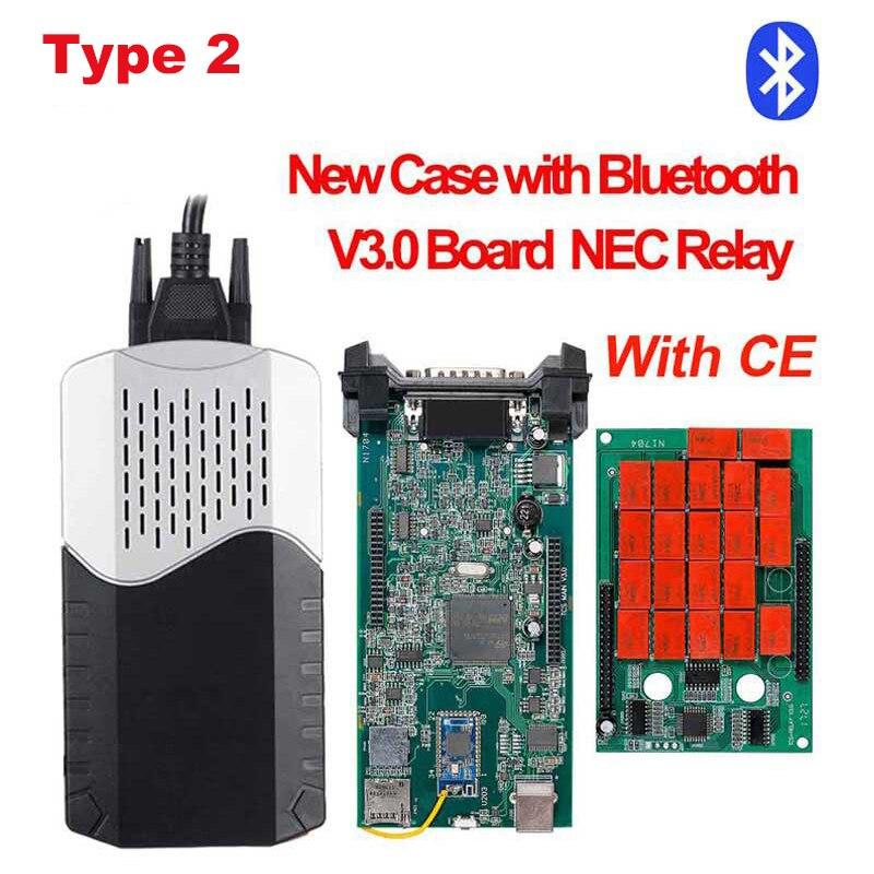 CDP TCS CDP Pro OBD2 Bluetooth R3 keygen,00 keygen для автомобилей/грузовиков OBD2 диагностический инструмент obd2 считыватель кодеров как MVD - Цвет: type2 New case BT