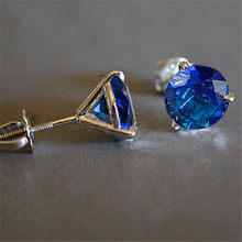 Luxury Female Natural Blue Sapphire Stone Earrings 925 Sterling Silver Earrings For Women Small 6/7/8mm Screw Stud Earrings