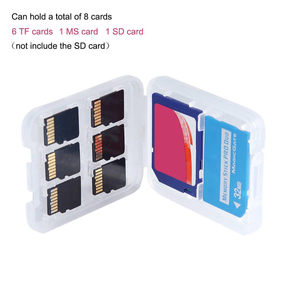 8 en 1 Micro plastique Double couche en plastique Micro pour SD SDHC TF MS carte mémoire stockage étui rigide protecteur de boîte