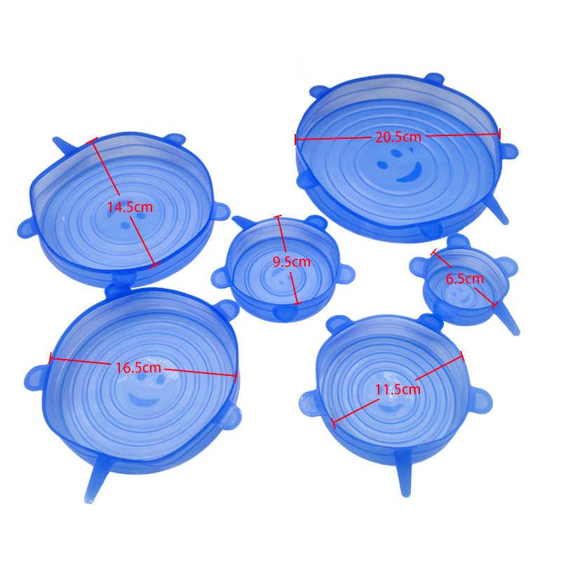 6/12pcs ซิลิโคนยืดฝา Universal ฝาปิดซิลิโคนชามหม้อฝาปิดฝาครอบซิลิโคน Pan ทำอาหารอาหารสดฝาครอบไมโครเวฟ