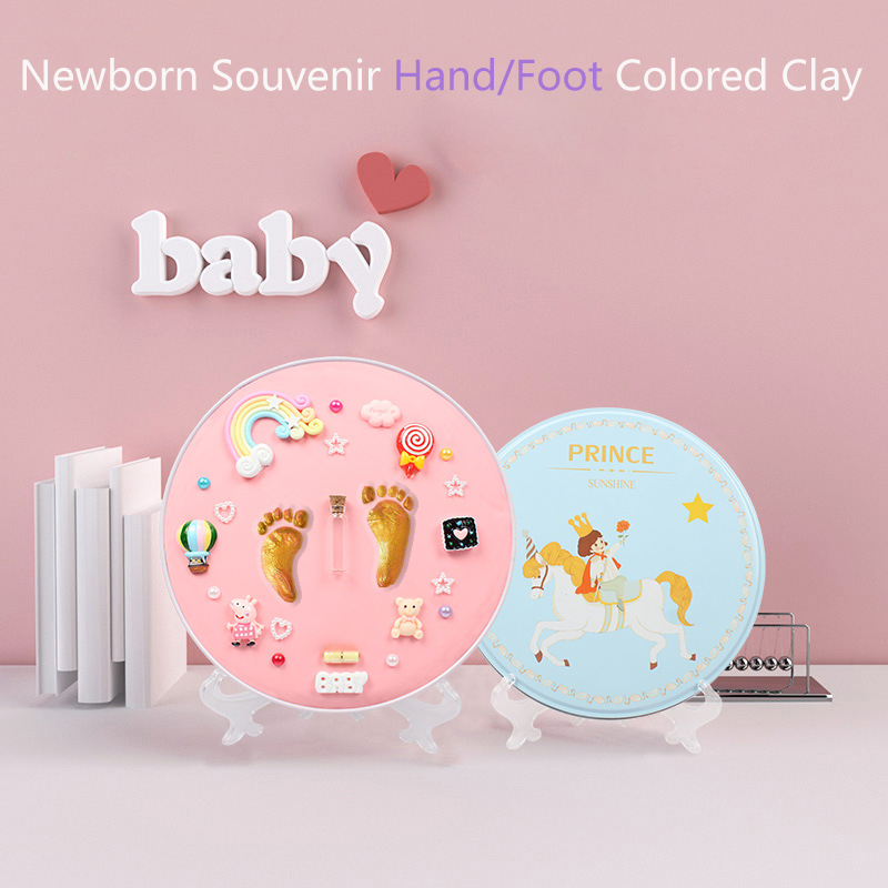 New Babys Gift Modeling Clay Hand Foot Diy Baby Photo Frame Slime Handprint Footprints Colored Clay Souvenir Newborn Baby Items