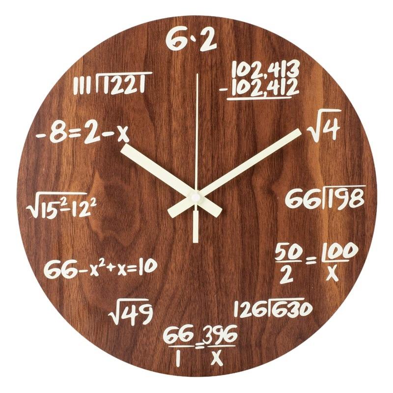 Luminous Wall Clocks, Maths Formula Creative Clocks, Non-Ticking Quartz Clock, 30cm Wooden Vintage Decorative