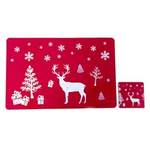 6 Placemats Coasters Christmas Table Placemat Set Printed Winter Dining Room Kitchen Mat Holiday Home Decorations 1PC