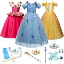 Cosplay Belle Girls Dresses Cinderella Girls Elsa for Beauty and  Beast Kids Party Clothing Christmas Halloween Princess Dress цены онлайн