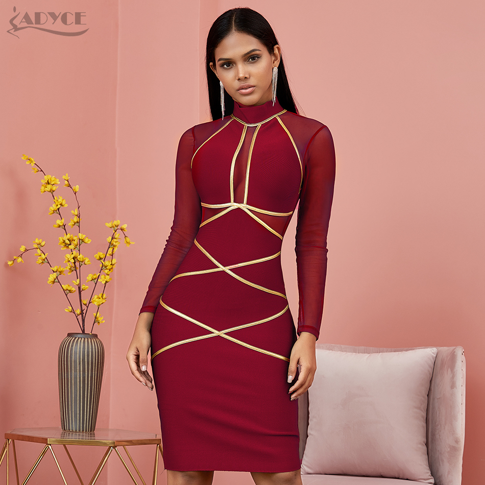 Image 5 - Adyce 2020 New Spring Long Sleeve Green Lace  Bandage Dress Women  Sexy Hollow Out Club Mini Celebrity Evening Runway Party DressDresses