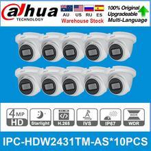 Dahua IPC-HDW2431TM-AS d'origine 4MP POE intégré micro fente pour carte SD H.265 IP67 30M IR Starlight IVS caméra extensible 10 pièces/lot