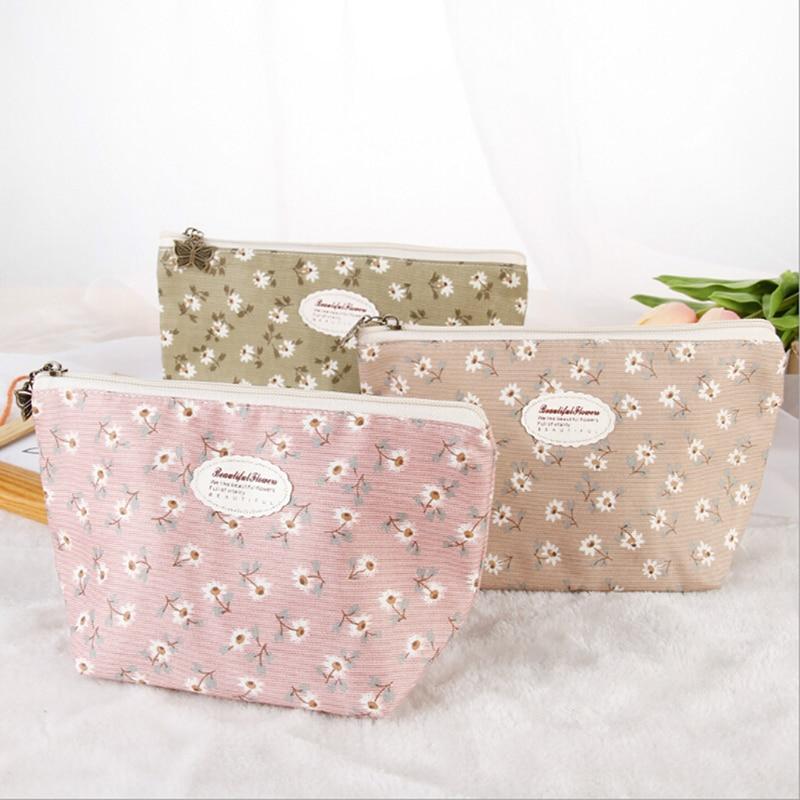 Fresh Fashion Women Cosmetic Bag Travel Cute Flower Makeup Bag Zipper Case Ladies Organizer Toiletry Bag Kits Wash Pouch
