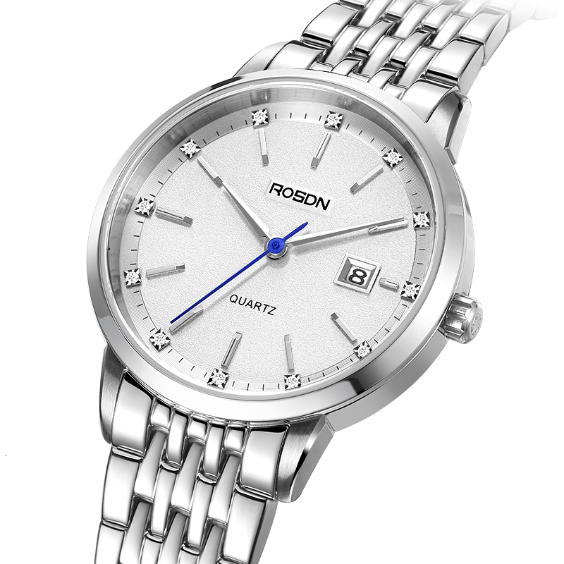 Luxury Brand ROSDN Couple's Watches Japan Quartz Movement Women's Watches Waterproof Sapphire Full Stainless Steel Clock R3635W