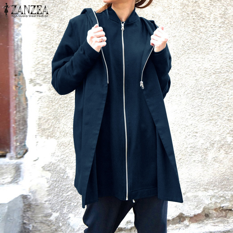 ZANZEA 2020 Fashion Hooded Hoodies Sweatshirts Women's Coats Autumn Long Sleeve Pullovers Female Warm Casual Zipper Pullovers